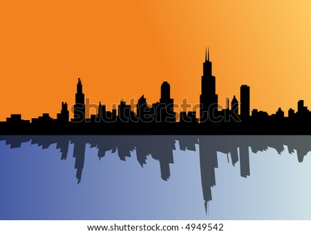 cityscape with reflection in the sea - vector - - stock vector