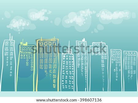 cityscape with skyscrapers - stock vector