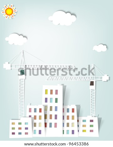 cityscape with tower cranes - stock vector