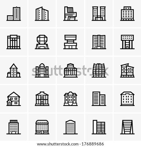 Civil buildings - stock vector