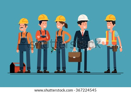 civil engineer architect construction workers characters stock