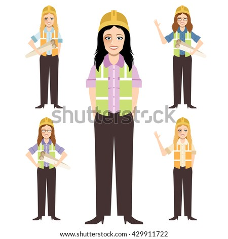 Civil engineer, architect and construction workers characters group. Cool vector flat design construction team characters line-up. Group of construction workers in hard hats friendly smiling - stock vector