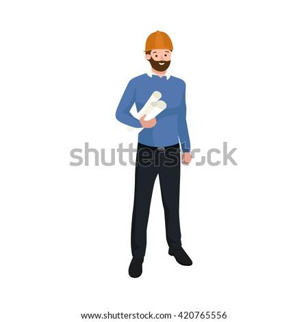 Civil engineer, architect or construction worker man vector illustration - stock vector