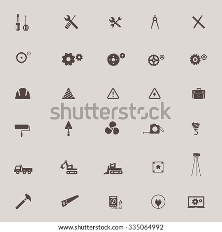 Civil engineering, technician, labor, excavator transport and construction site industry graphic tool sign and symbol icon collection set, create by vector  - stock vector