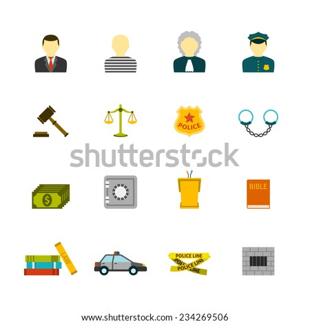 Civil law justice crime and punishment flat icons collection  with prisoner bible book abstract isolated vector illustration