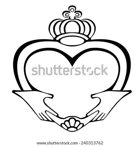 Claddagh Symbol On White Background Symbol Stock Vector 2018