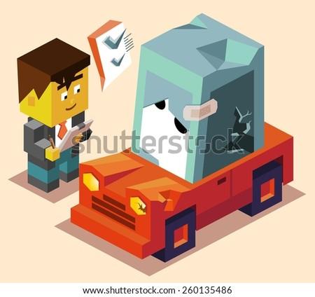claim for car insurance. vector illustration - stock vector