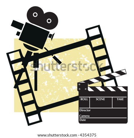 Clapboard with a camera and filmstrip - stock vector
