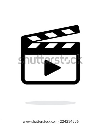 Clapper board icon on white background. Vector illustration. - stock vector