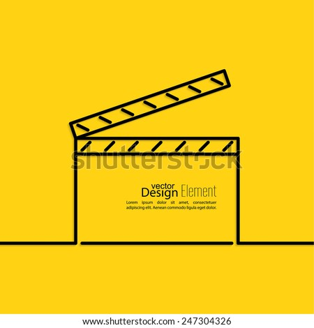 clapper board on a yellow background. symbol for film and video. minimal. Outline. - stock vector