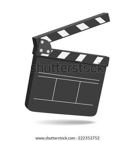 Clapper board on white background, vector eps10 illustration - stock vector