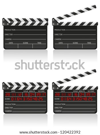 clapper board vector illustration isolated on white background - stock vector