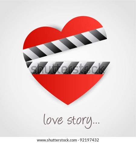 Clapper board with heart symbol. Love concept design. - stock vector