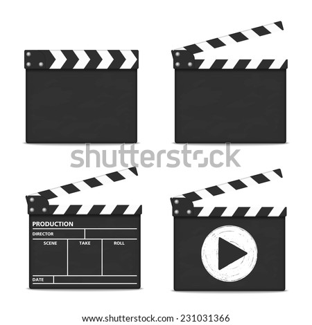 Clapper boards on white background, vector eps10 illustration - stock vector