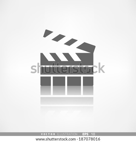 Clapperboard icon. Film , cinema, movie symbol - stock vector