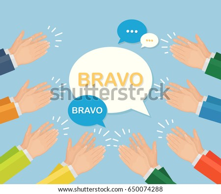 clapping hands speech bubble isolated on stock vector royalty free