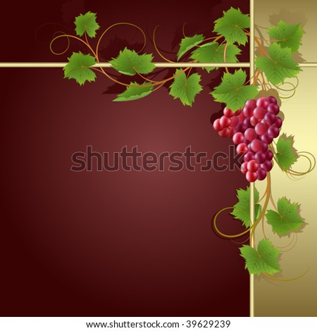 Claret background with gold frame and vine