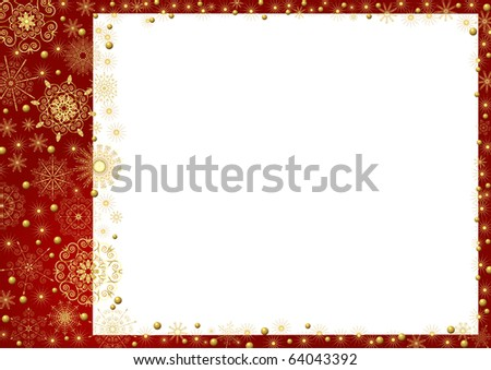 Claret frame with gold stars and a white background - stock vector