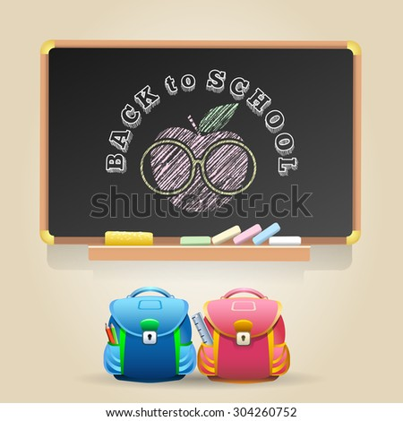 Class Chalkboard with lettering Back to School. Sign of Apple in a glasses and two school bags. - stock vector