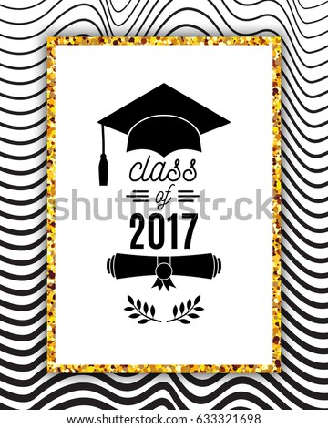 Class 2017 Greeting Card Hat Scroll Stock Vector 633321698 ...