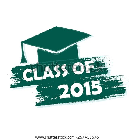 class of 2015 text with graduate cap with tassel  - stock vector