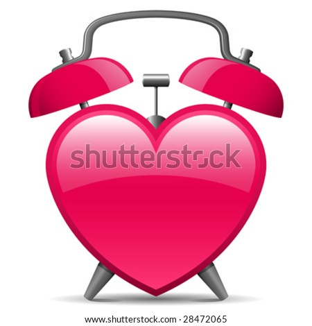 Classic alarm clock in heart shape - vector - stock vector