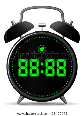 Classic alarm clock with digital display - vector - stock vector