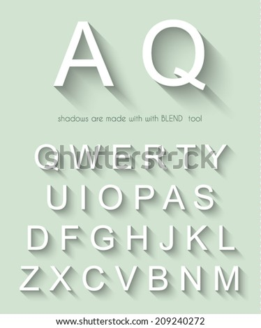 Classic alphabet with modern long shadow effect. Shadows has been made with blend and transparency so can be copied and paste on every background. - stock vector