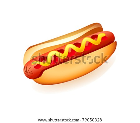 Classic american fast food - sausage with mustard and ketchup - stock vector