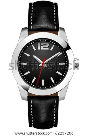 Classic Analog Men's Wrist Watch - stock vector