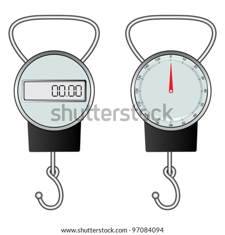 classic and digital hook scale against white background, abstract vector art illustration - stock vector