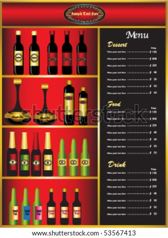 Classic and luxury wine bar menu. - stock vector
