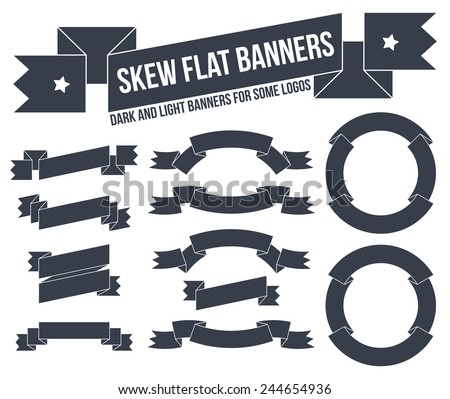 Classic and unusual ribbons and banners in old-school style. Elements for logos and emblems. - stock vector