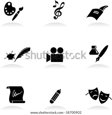 Classic arts icons set - stock vector