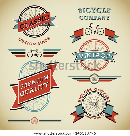 Classic Bicycles Vector Label Collection - stock vector