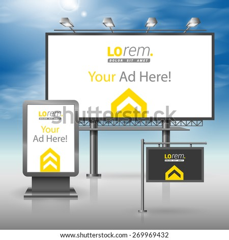 Classic black outdoor advertising design for corporate identity with central yellow arrow. Stationery set - stock vector