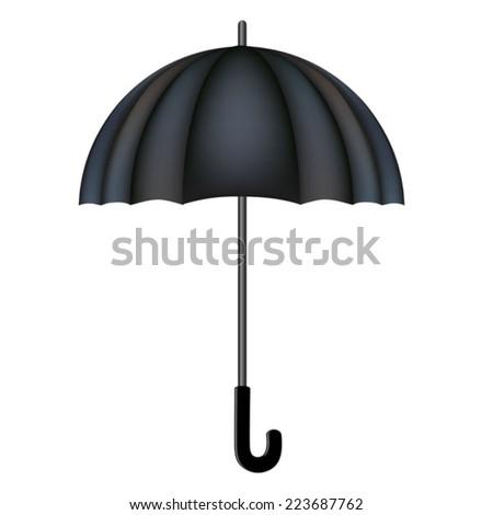 classic black vector umbrella isolated on white background - stock vector