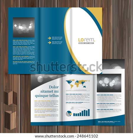 Classic blue brochure template design with white round element. Cover layout