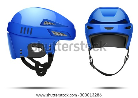 Classic blue Hockey Helmet. Front and side view. Sports Vector illustration isolated on white background.