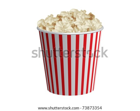 Classic box of red and white popcorn box isolated on white background - stock vector