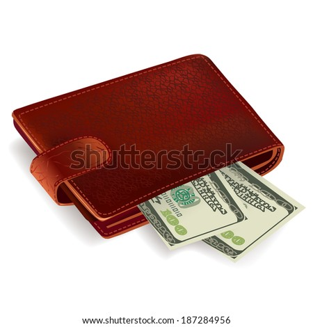 Classic brown leather pocket wallet filled with dollar bills vector illustration