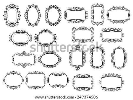 Classic calligraphic vintage frames and borders set in black and white line drawings with different shaped surrounds, all with central copyspace, vector design elements - stock vector