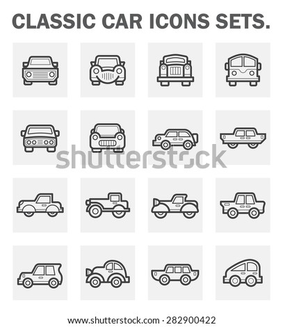 Classic car icons sets. - stock vector