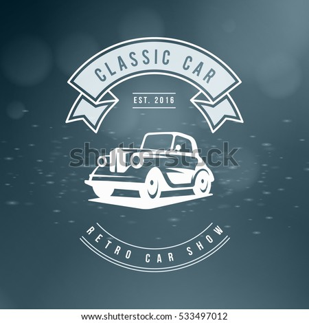 Classic car logo, emblem, badge. Service car repair, racing emblem. Vector illustration. White on abstract color background