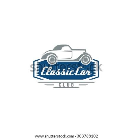 Vintage Car Garage Service Logo Muscle Stock Vector