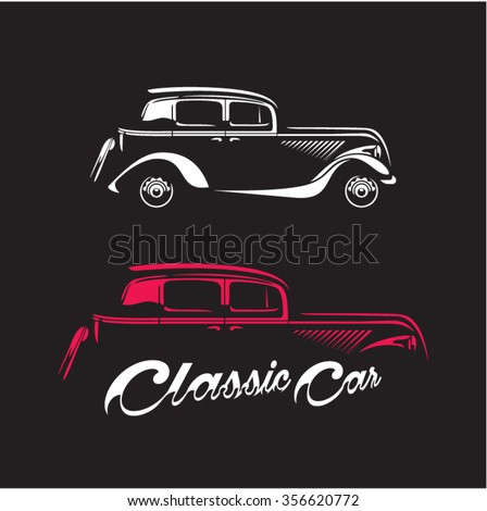 Classic car silhouette isolated on black background, Vintage car vector  - stock vector