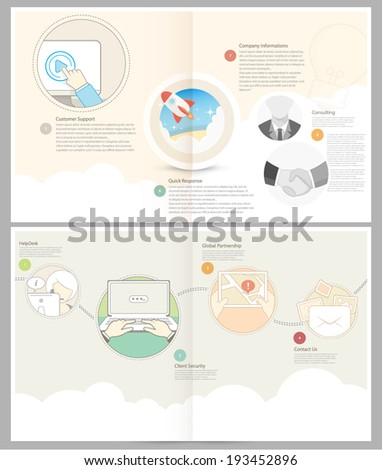 Classic Case Study Booklet: brochure design template for business with concept icons - stock vector