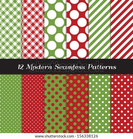 Classic Christmas Backgrounds. Red and Green Jumbo Polka Dot, Gingham and Stripes Seamless Patterns. Pattern Swatches made with Global Colors. Matches my other patterns Image ID: 121354012. - stock vector