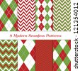 Classic Christmas Backgrounds. 8 Seamless Chevron and Argyle Patterns in Green, Dark Red, White and Silver. Global colors - easy to change all patterns. Nice background for Scrapbook or Photo Collage. - stock photo