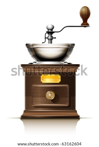 classic coffee grinder in wooden case vector illustration isolated on white background